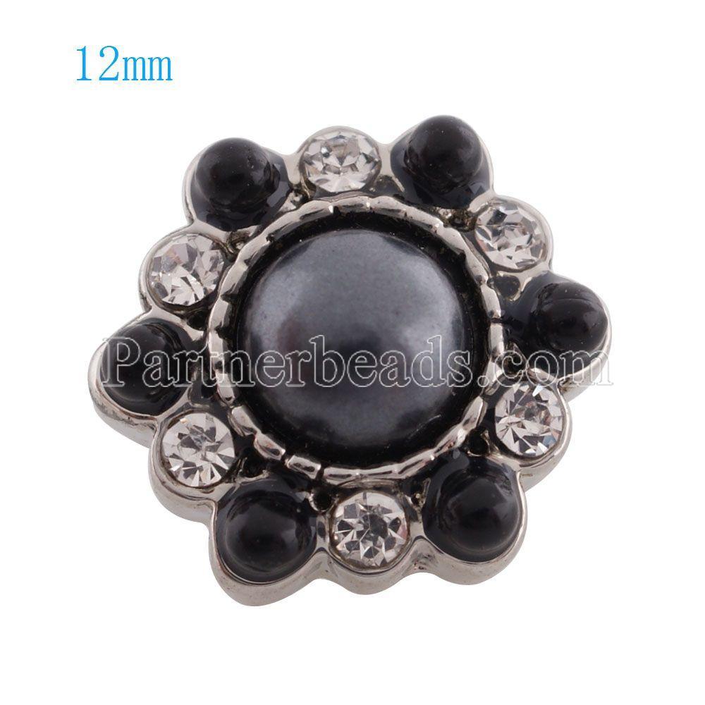10pcs / lot Nouveau mode 12mm mini bouton pression strass boutons pression pour bracelets collier pendentif bijoux KS8030-S