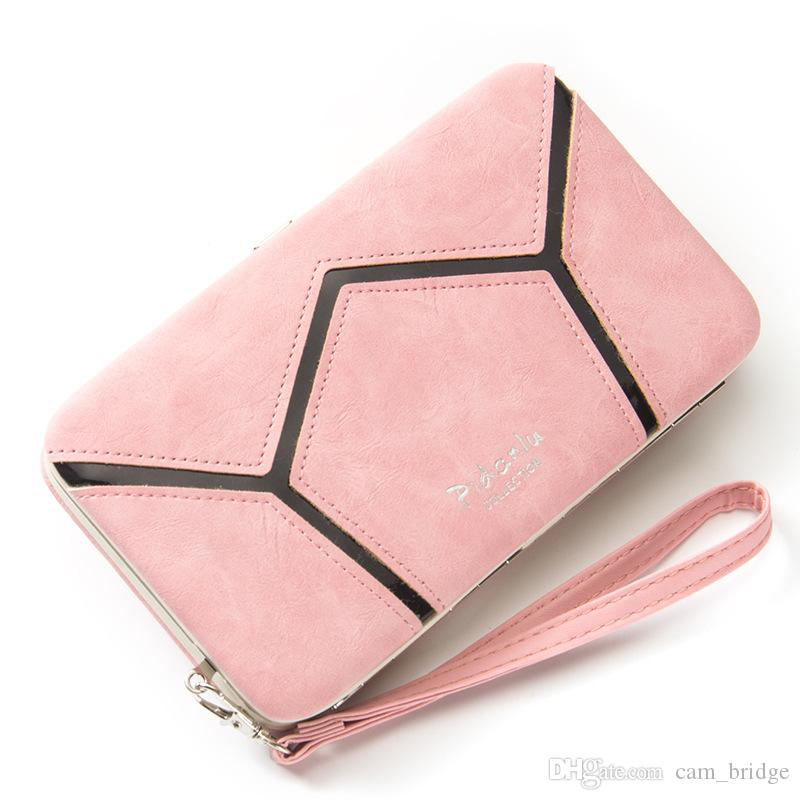 Cute Geometric Clutches Bags Girls Long Card Holder Wallet Phone Case Box For Iphone Huawei R063