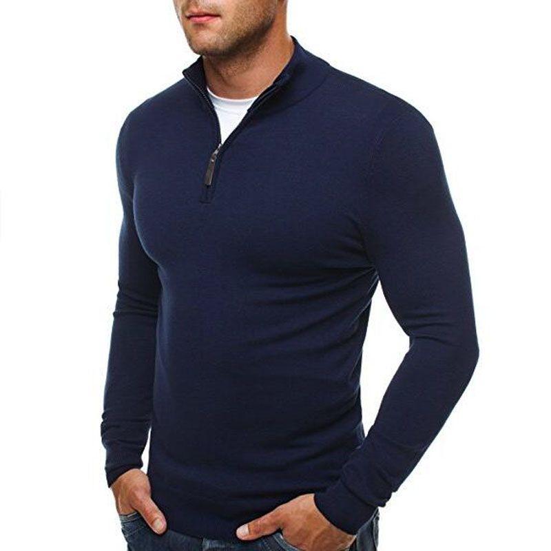 Großhandel Herren Pullover Für 2019 Pullover Pullover Männer Casual Slim Fit Strickpullover Männer Klassische Reißverschluss Hoher Kragen Männlichen