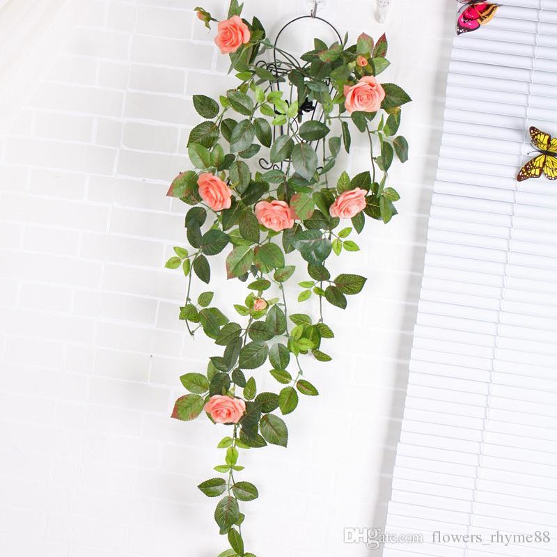 Decoração da parede falsa Silk Rose Flor Videira Flores Artificiais rattan para Casa Decoração de Casamento Artificial Decorativa Flor Pendurado Grinalda Guirlanda