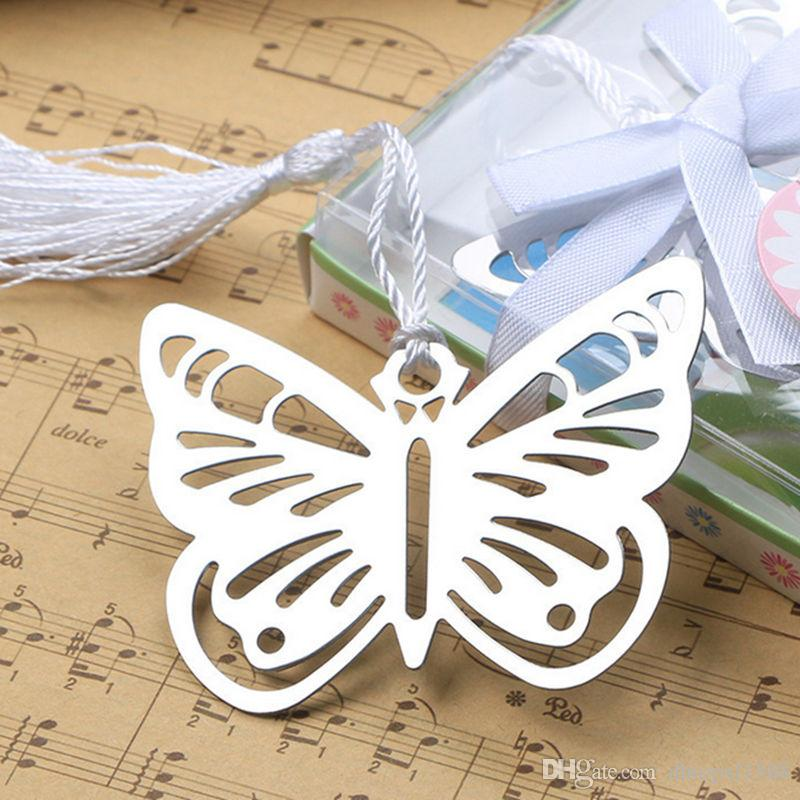 Metal Silver Butterfly Bookmark With White tassels wedding baby shower party decoration favors Gift gifts Stationery Gifts