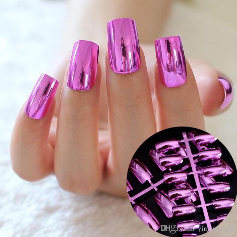 Nails falsos Nail Fashion Metallic Dicas Acrílico espelho de superfície Longa Tamanho Cor prata em simples 24pcs Pacote / lot