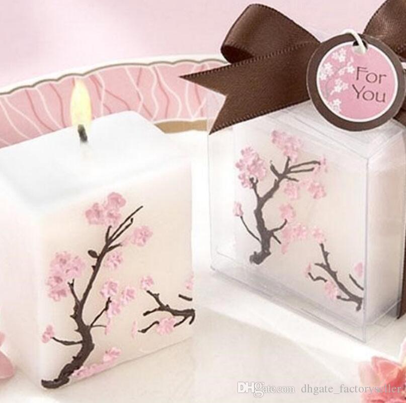 Bougies de mariage bougies de fleurs de cerisier parfumées sans fumée à la cire pour cadeaux de fête décoration LX3856