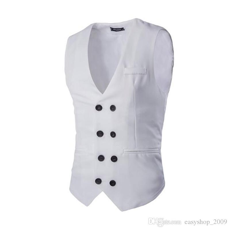 Costume gilet costume à double boutonnage Slim soutien-gorge veste de costume de couleur chaude pour hommes
