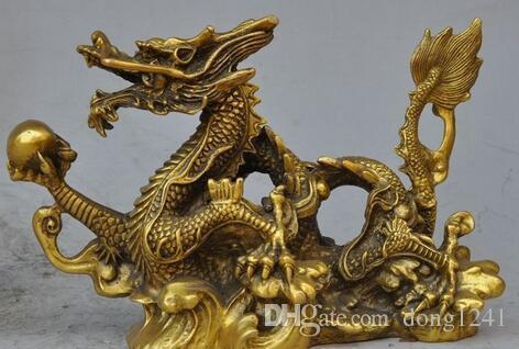 "8 ""Fengshui chinois chanceux en laiton richesse richesse Zodiac Dragon Perles show Statue"