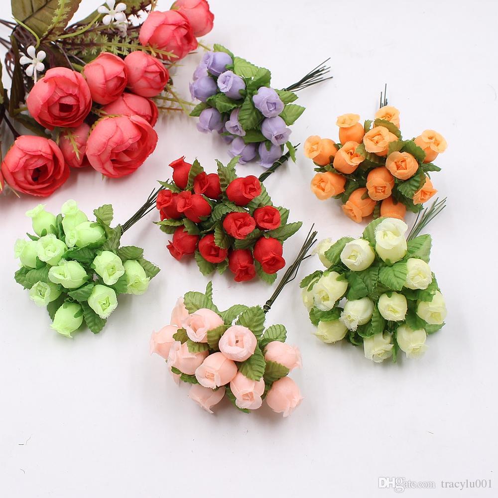15pcs 2cm handmade mini silk rose bouquet artificial flower wedding decoration DIY wreath clip art fake flower decoration