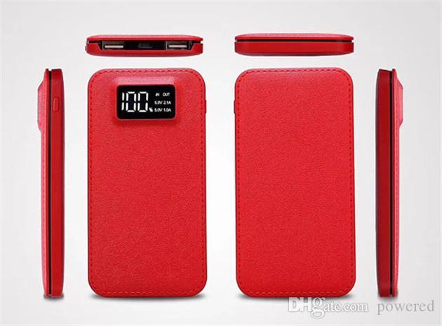 Banque de puissance ultra mince mince de haute capacité 20000mah avec affichage numérique 2 sortie USB livraison gratuite