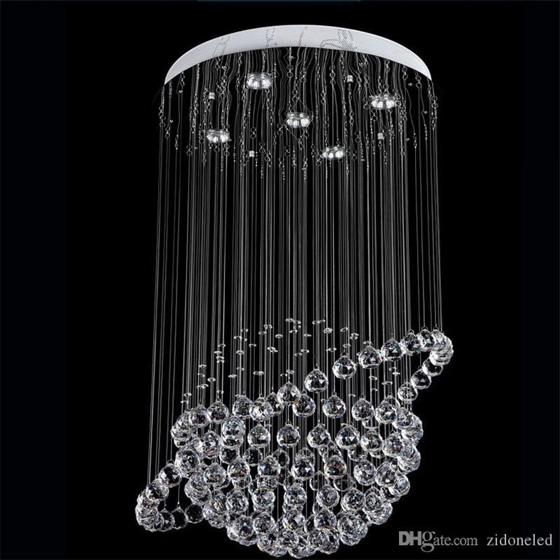 Modern Round K9 Crystal Chandeliers Raindrop Flush Ceiling Light Stair Pendant Lights Fixtures Hotel Villa Crystal Ball Shape Lamp