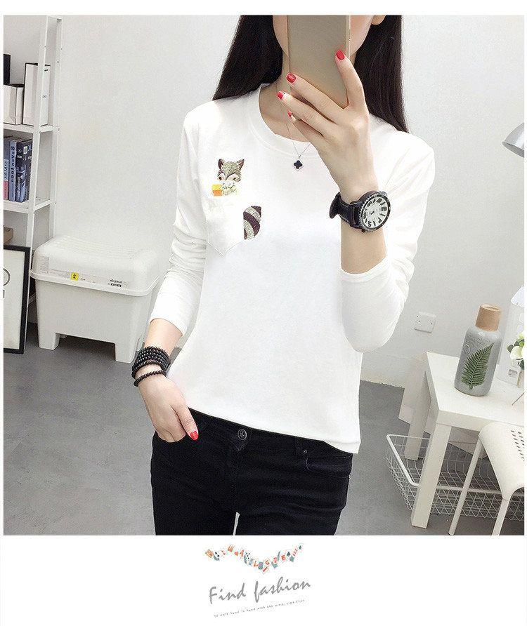 Embroidery T-shirts Women Tshirt O-neck Long Sleeve T-shirts Women Autumn Tops Tee Shirt Femme 2019 Cotton Camisetas Large Size (15)