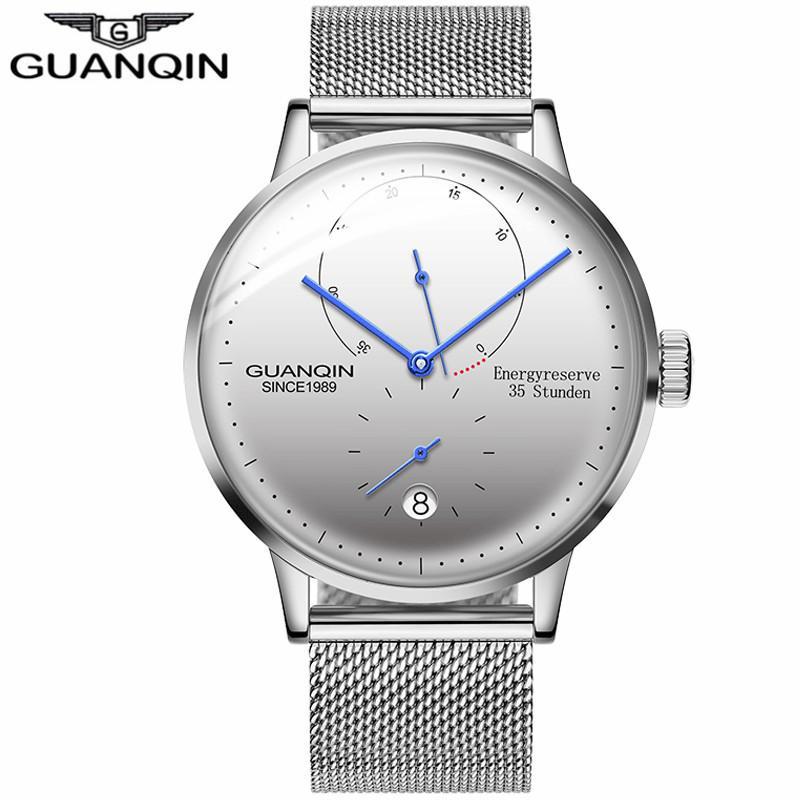 Gli uomini Orologi di marca GUANQIN meccanico automatico Energyreserve 35 Stunden Orologio Casual Fashion Zaffiro Impermeabile orologio da polso