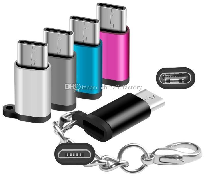 نوع USB محولات C USB-C ذكر إلى أنثى مايكرو USB تحويل موصل مع شاحن مزامنة سلسلة المفاتيح ل Samsung S9 S8 Macbook