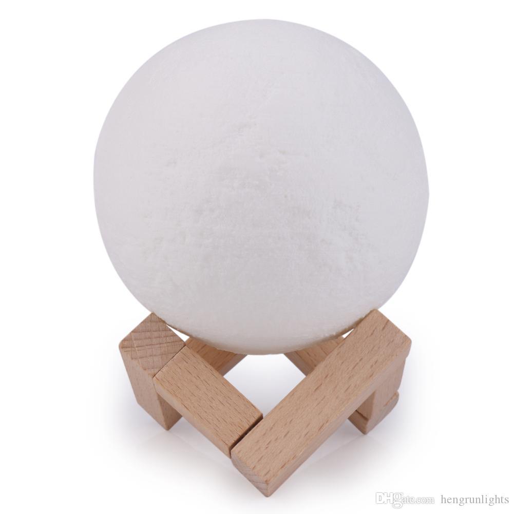 문 램프 충전식 나이트 라이트 3 색 변경 터치 스위치 침실 3D 달 달 램프 홈 인테리어 크리 에이 티브 선물을 인쇄 3D