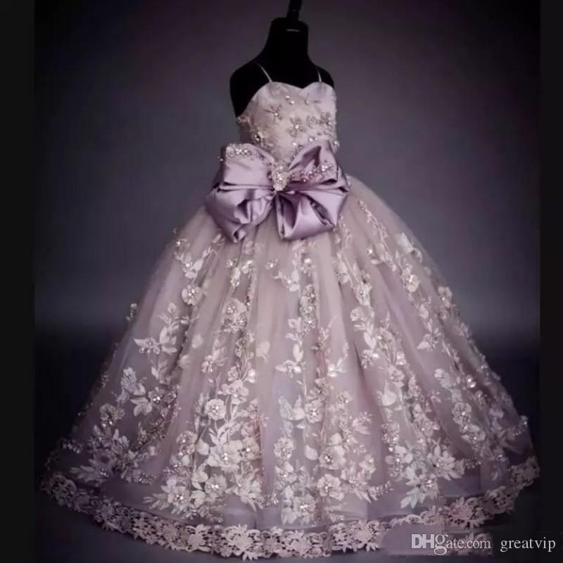 Real Pictures Flower Girls Dresses Lace Applique Beads Bow Spaghetti Princess Kids Prom Gowns First Communion Party Dress Robes De Fête