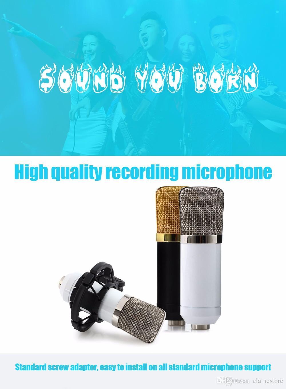 Negro BM700 Condensador Micrófono de Grabación de Sonido Profesional 3.5mm Atado con Cable con Montaje de Choque para Radio Braod Alta calidad Libre de DHL