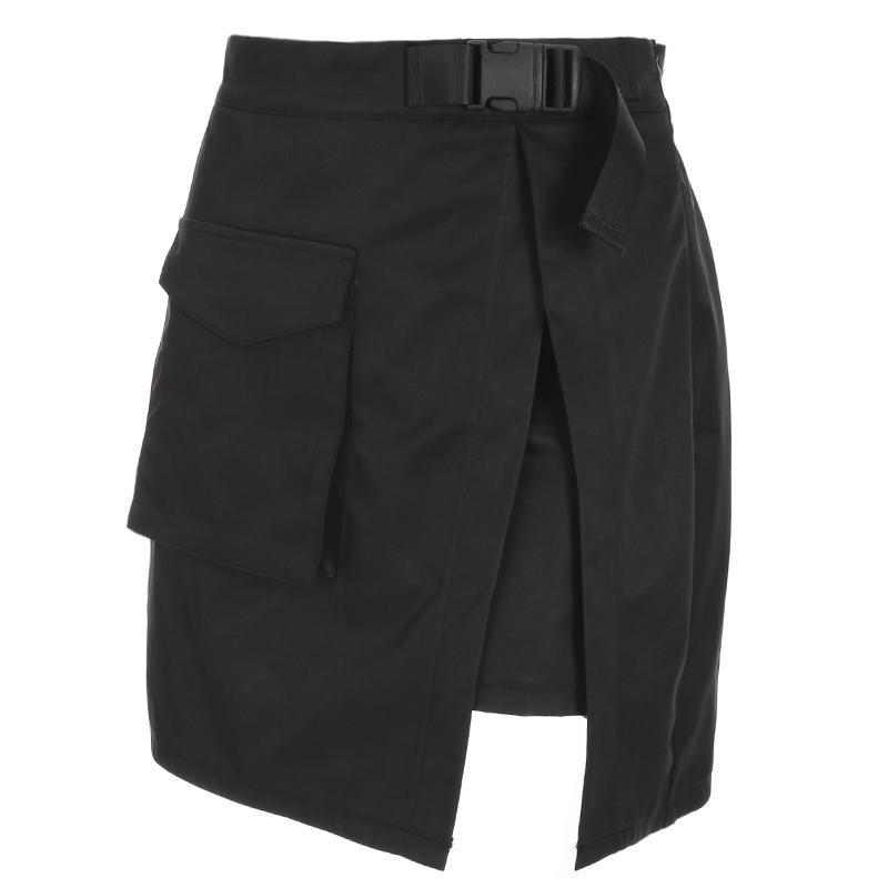 Heyougirl harajuku carga mini faldas para mujer sexy alta cintura mini falda verano casual a-line faldas cortas faldas dividir los bolsillos de la moda