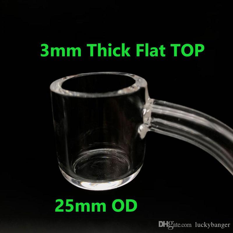 3mm dicke flache Top 25mm OD XL Quarz Banger Nagel weiblich männlich 10mm 14mm 18mm 45/90 Grad Quarz Banger Domeless Nagel