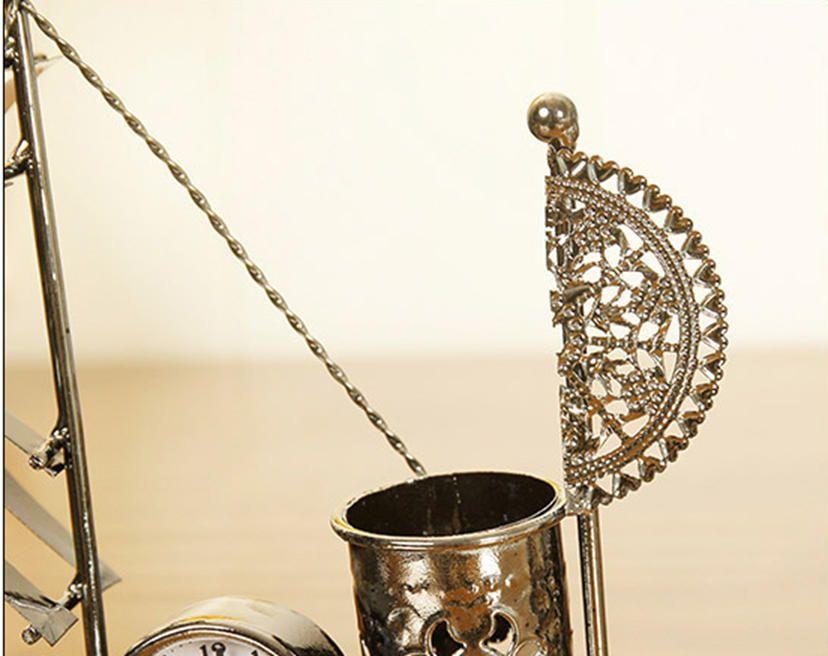 Creative Iron Craft 12cm Height Sailboat Clock Home Decor Desk Cabine gift-P01
