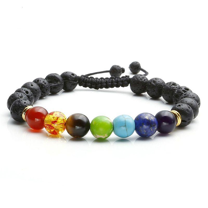 7 pulseras de equilibrio curativo chakra Femme Lava Yoga Reiki Oración Wish Stones 8mm Bracelet
