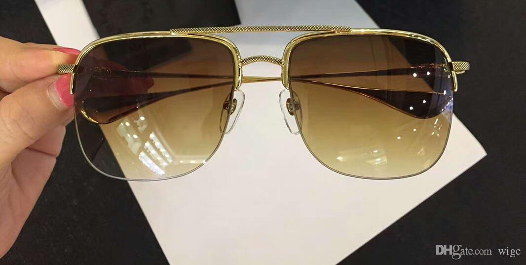 Mens Stains Square Pilot Sunglasses Gold Metal Brown Lenses 59 18 145 Designer Glasses Brand New With Box Prescription Sunglasses Glasses Frames From
