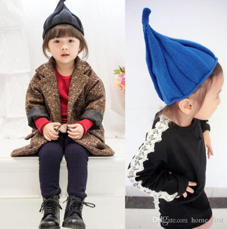 Autumn Winter Children Elf Caps Sweater Hat Cute Child Peaked Top Cap Baby Windmill Hat Free Shipping DHL TC181011 50PCS