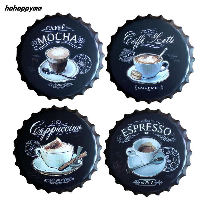 Espresso Caffe Latte Cap Garrafa De Cerveja De Metal Parede De Café Placas Retro Art Poster Metal Sinais De Lata Do Vintage Pintura Home Decor 40 CM Y18102409
