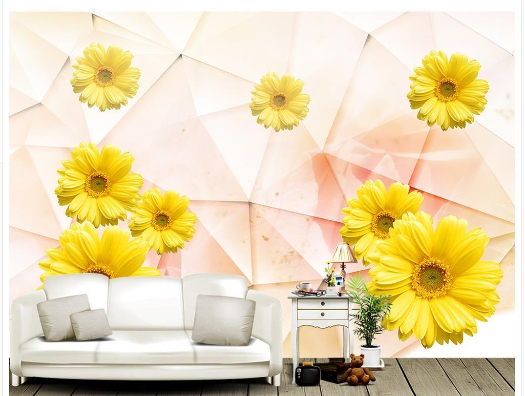 Geometryczny Abstrakcjonistyczny 3D Słońce Kwiat Słonecznikowy Kwiat Telewizja Tło Tapeta Ściana Dla ścian 3 D na salon