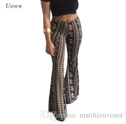 بوهو مضيئة السراويل النساء البوهيمي أزياء فضفاضة طويلة بانت القبلية الأفريقية طباعة واسعة الساق السراويل جرس القاع طماق الهبي السراويل