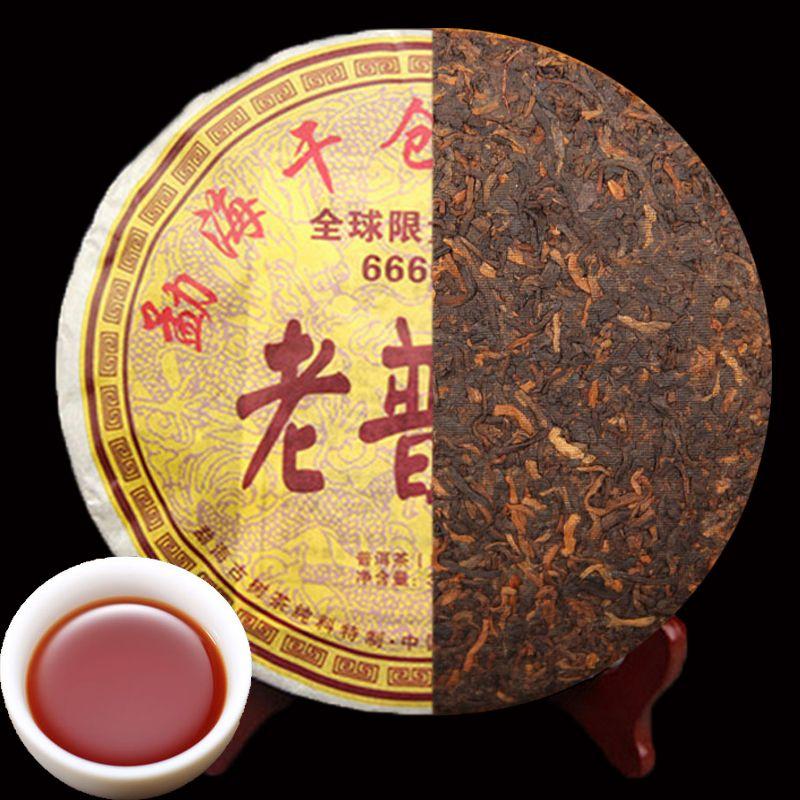 Продвижение 357g Ripe Пуэр чай Юньнань Классический предок Дерево пуэр чай Органический Природные Pu'er Старое дерево Приготовленный пуэр черный чай Pu'er торт