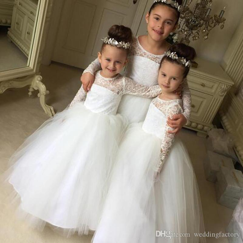 Modest Long Sleeves Flower Girls Dresses Sheer Jewel Neck Lace Tulle Kids Formal Gowns for Wedding Party Floor Length Pageant Gown