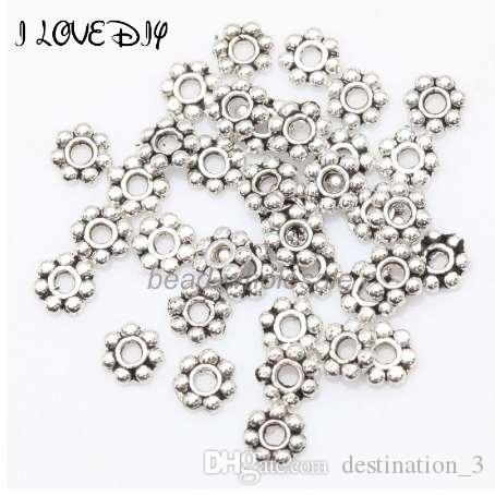 1000 adet Tibet Gümüş Çiçek Spacer Boncuk Yuvarlak Metal Papatya Tekerlek Paspayı Takı Yapımı için 4mm
