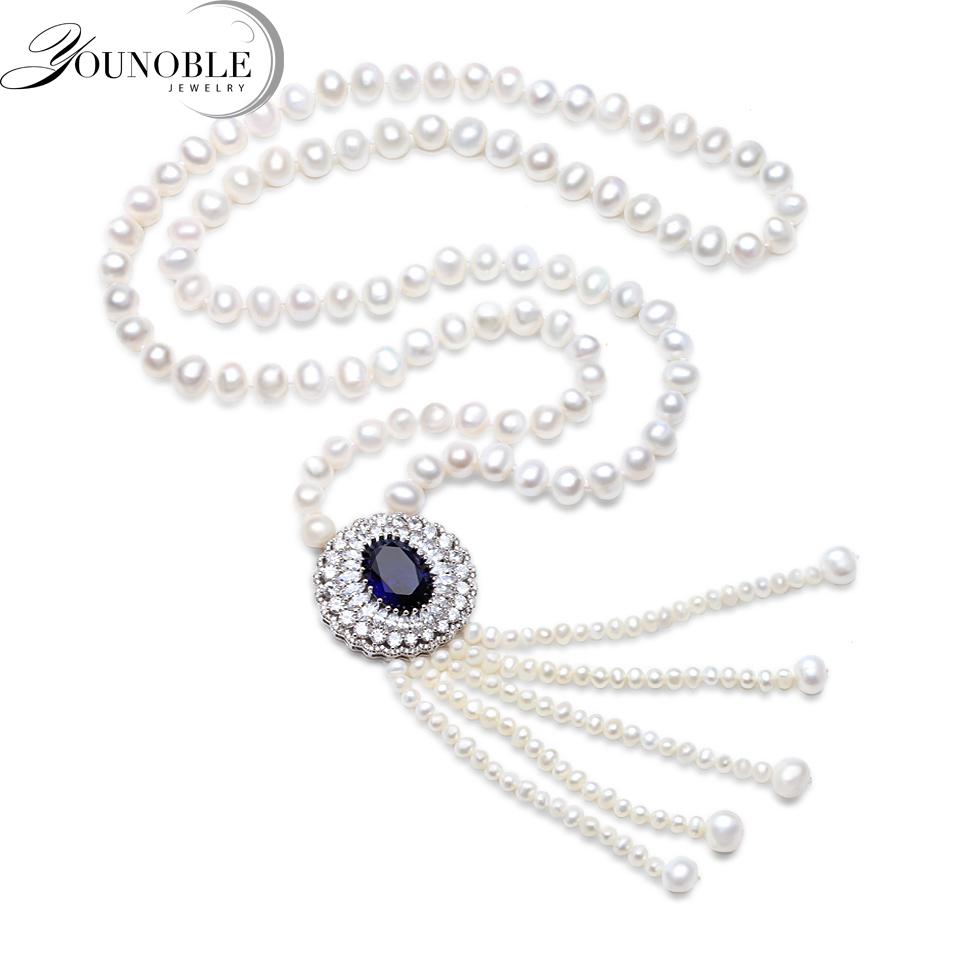 Real Freshwater Long Pear Necklace For Women,Tassel Natural Pearl Pendant Necklace 925 Silver Jewelry Statement Wife Mother Gift Y18102910