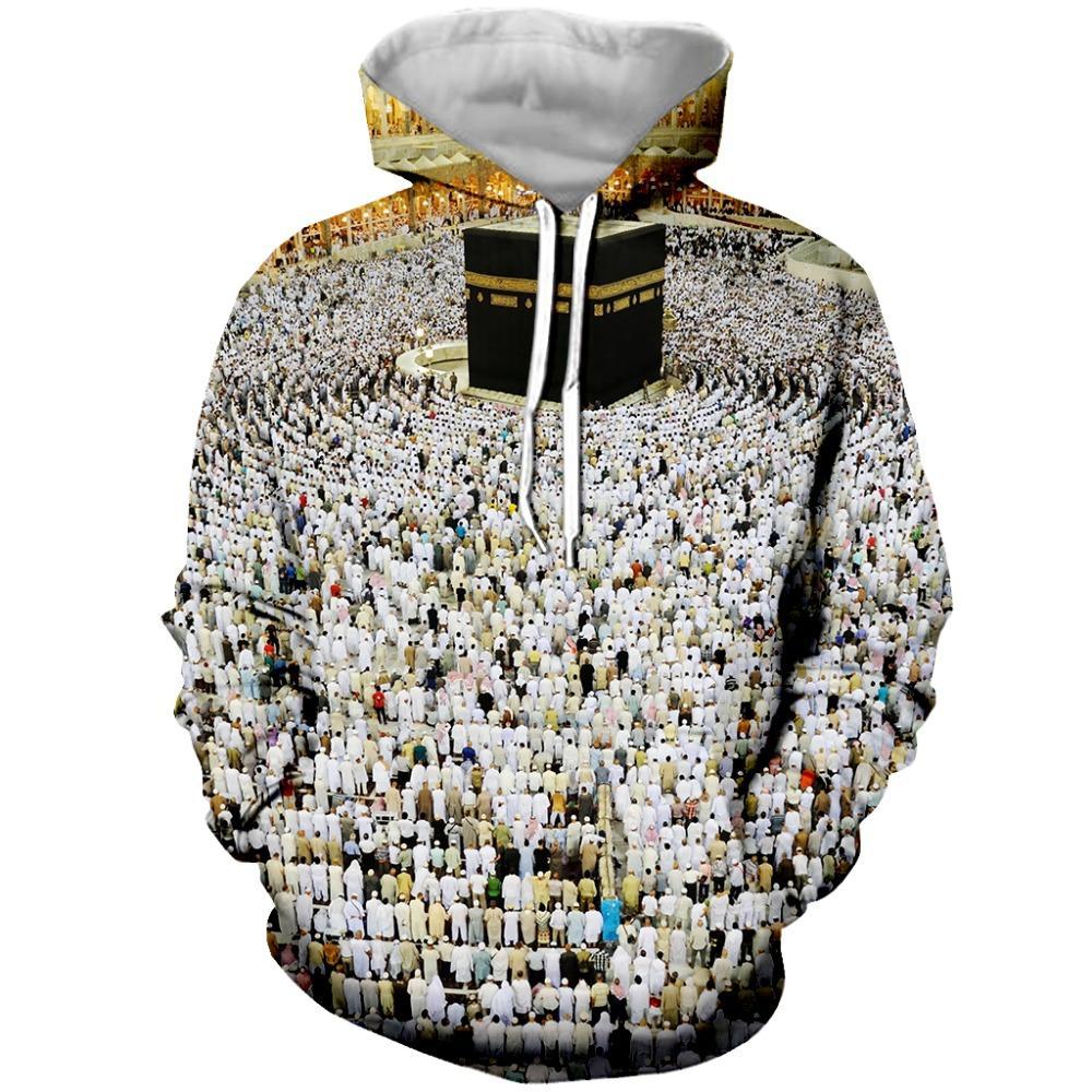 Commercio all'ingrosso 3d moda musulmano pellegrinaggio stampato con cappuccio per le donne degli uomini di modo con cerniera felpe / felpa / tees unisex vestiti