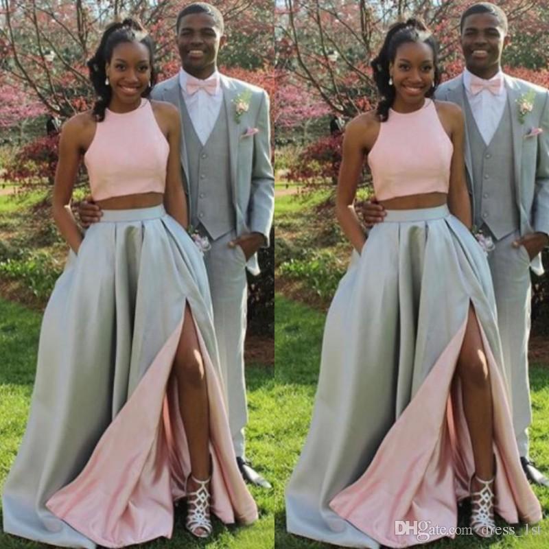 2018 jóvenes de la muchacha negra dos piezas de baile vestidos largo barato rosa superior gris plata falda con bolsillos laterales divididos vestidos de fiesta formal EN20710
