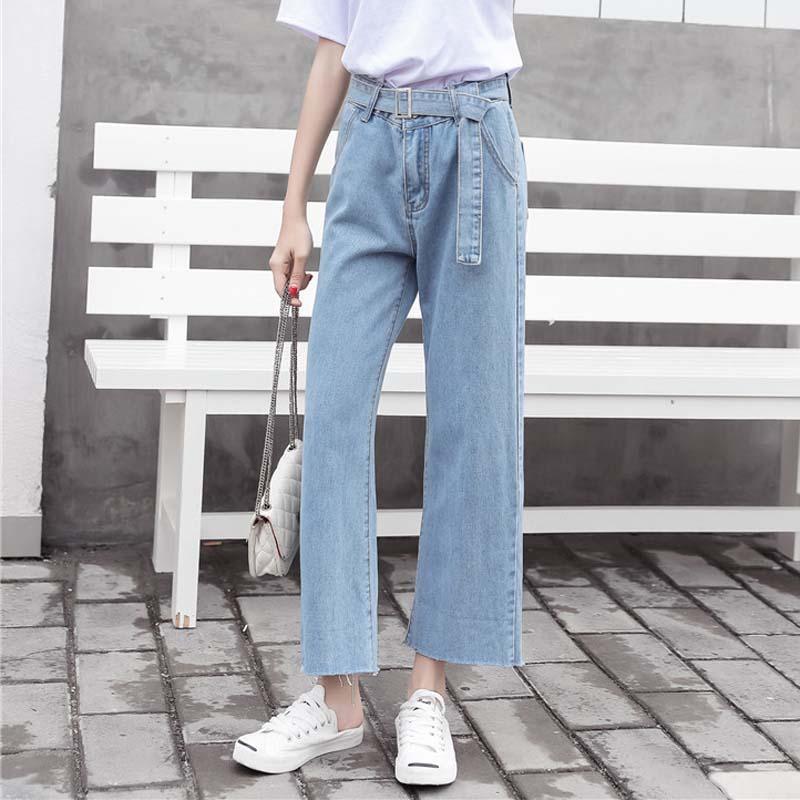 Pantalones de mezclilla de pierna ancha otoño coreano Mujeres Pantalones de cintura alta sólido Jeans Mujer Pantalones de bolsillos sueltos Vintage Casual con pantalones largos de correa