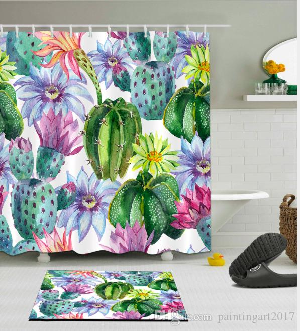 3D Cactus fleur Design Pattern Irlandais Décorations Imperméable À L'eau De Salle De Bains Décor Tissu Douche Rideaux Tapis De Sol ensembles