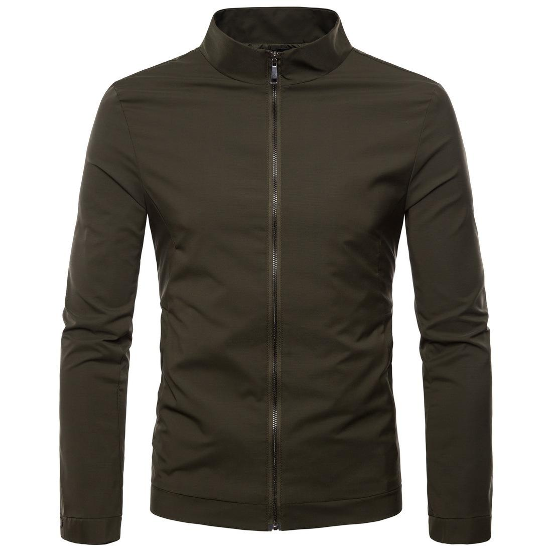 Mens Jackets Coat Autumn High Quality Male Stand Collar Solid Jacket Cardigan Long Sleeve Men Outwear S-2XL J180748