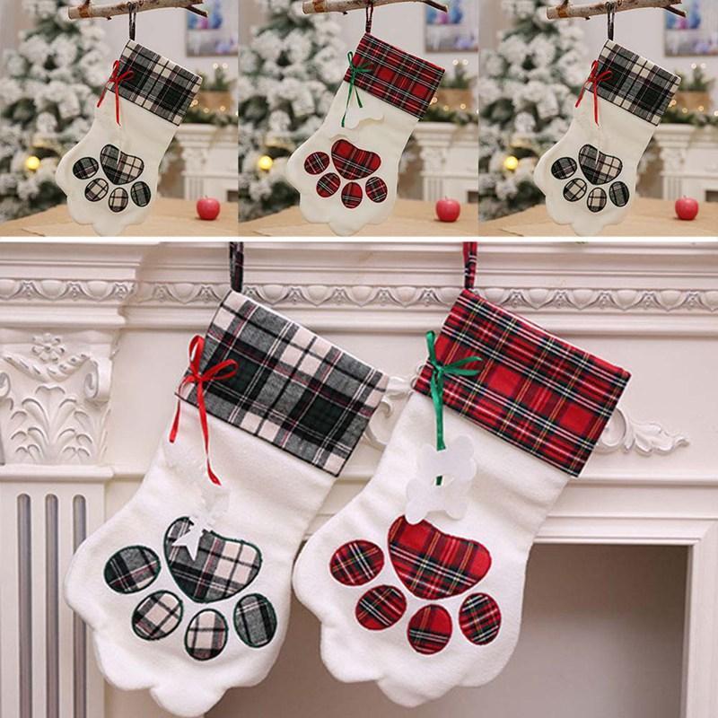 Venta al por mayor 1 UNIDS Claw Plaid Bolsa de Regalo de Navidad Bolsa de Caramelo Pata de Navidad Calcetines de Navidad Árbol Ornamento Decoración de Navidad Envío Gratis