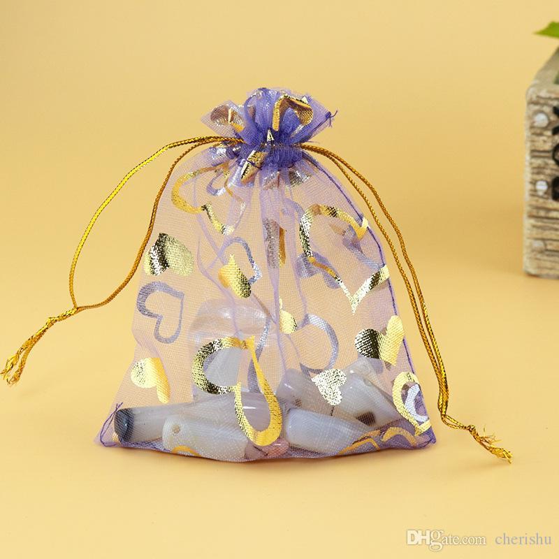 Toptan şeffaf Eugen gazlı bez çanta şeker çanta mor yaldızlı şeftali kalp çanta küçük öğeler için 100 adet / grup damla nakliye