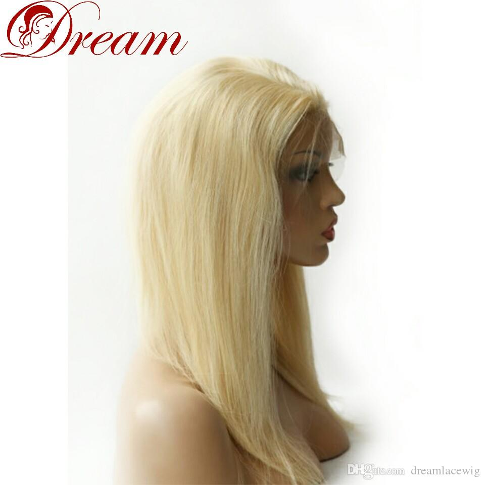 Dream 8A Lace Front Wigs for Woman Blonde 613 Color Silky Straight 100% Human Hair Density 130% Best Quality Good Quality 8 Inch to 22 Inch