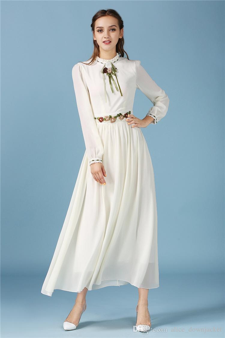großhandel neue elegante schlanke frauen kleid langarm abend party frauen  maxi kleider weiß grün hellgelb gefaltete frühling herbst kleider vestido