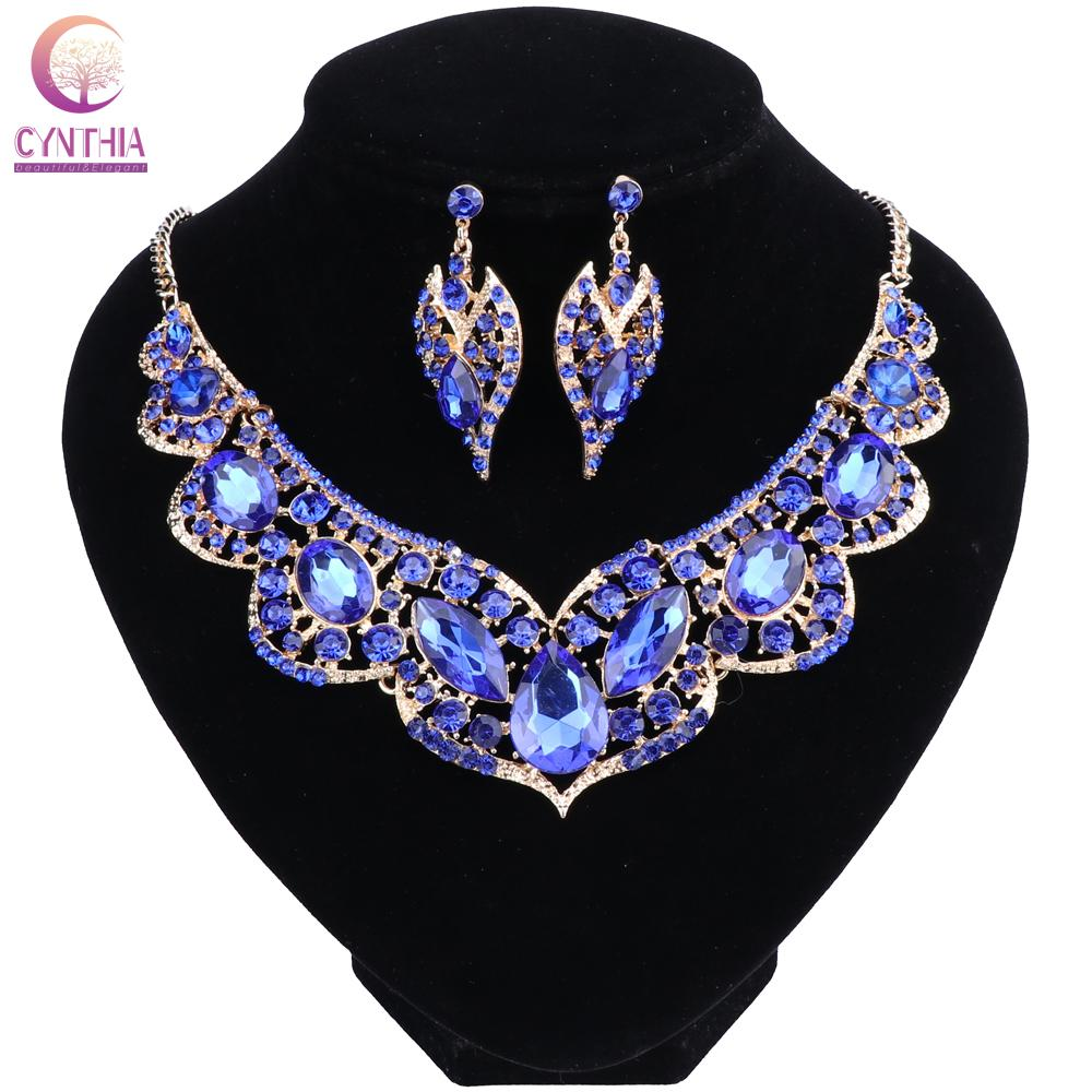 Couleur or cristal Dubaï bijoux de mariée set pour les mariées collier boucle d'oreille de soirée de mariage Accessoires pour les femmes