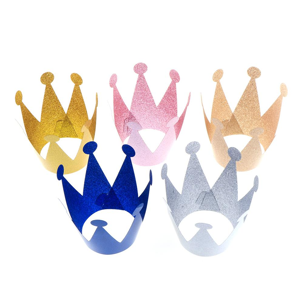 6pcs Wholesale Baby Girl Party Hats Birthday Princess Prince Crown Cap Headgear Birthday Party Decor Kids Festive Party Supplies