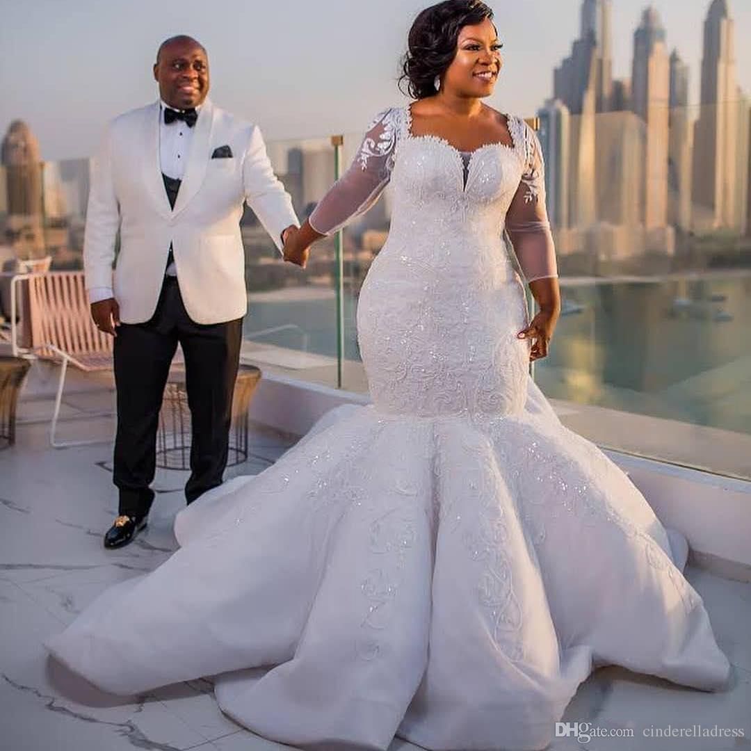 2018 Plus Size African Mermaid Wedding Dresses Lace Appliques Sheer Long  Sleeves Bridal Gowns Satin Sweep Train Bridal Gowns Vestidos Plus Size ...