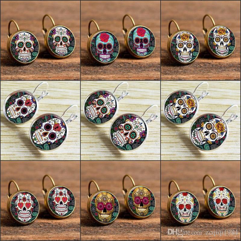 Crânes en verre Boucles d'oreille Crâne de sucre Boucles d'oreille Crâne Temps bijoux Boucles d'oreille