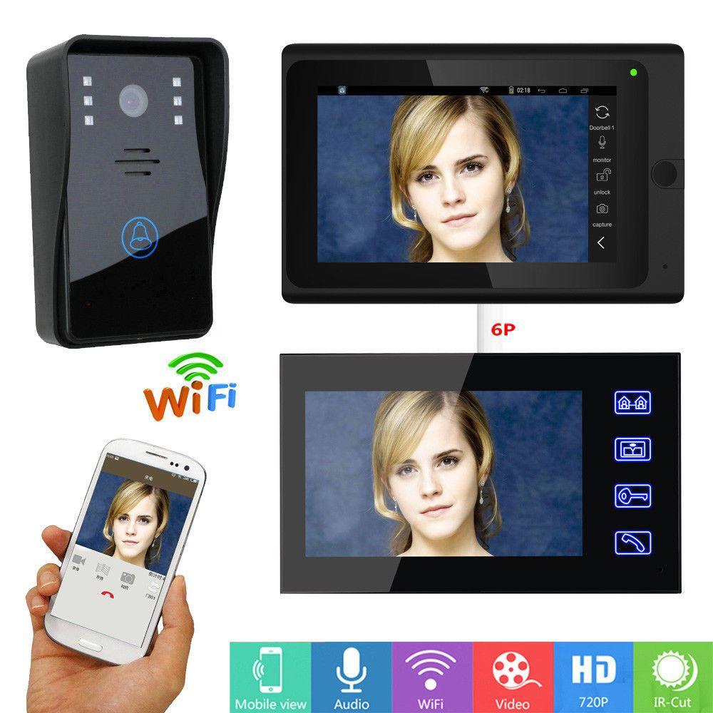 """7"""" wireless wired Video intercom Video Door Phone Doorbell APP Remote 2-monitor"""