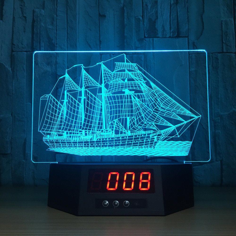 Orologio a vela 3D Light Illusion Night LED 7 Cambia colore Acrilico Light Fixtures Camera da letto Sleeping # R21