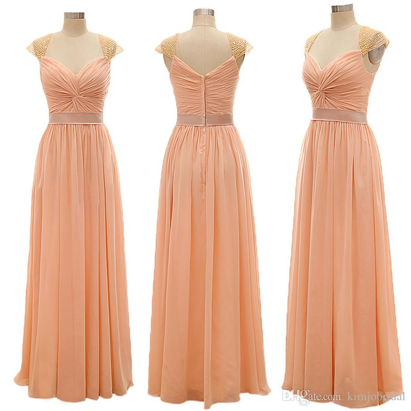 2018 Vestido De Festa Cap Sleeve Peach Prom Dresses Long Beaded Chiffon Cheap Prom Gown
