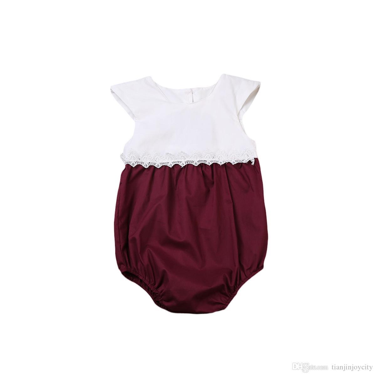 여름 신생아 유아 아기 소녀 등이없는 짧은 소매 레이스 바디 수트 선 수트 점프 슈트 복장 원피스 유아 어린이 옷