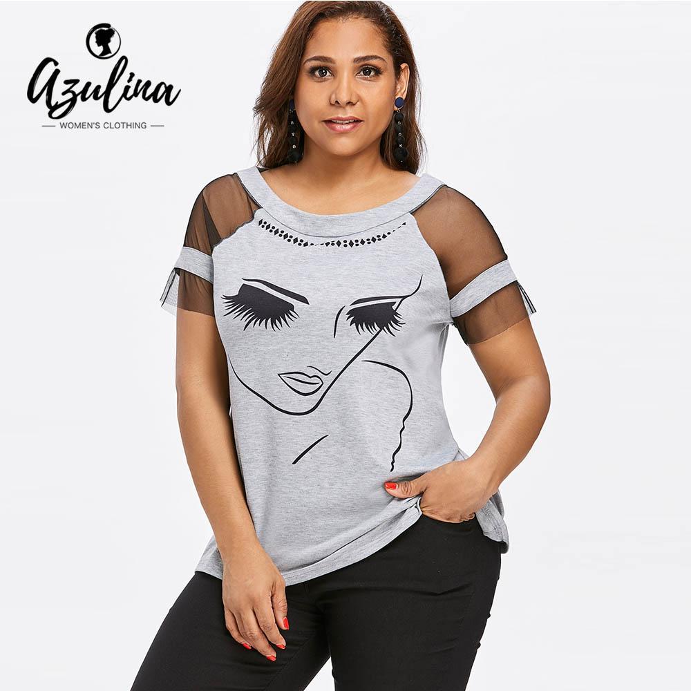 AZULINA Plus Size 5XL Painel de Malha Rosto Menina T-Shirt de Verão O Pescoço de Manga Curta Mulheres Camiseta Casual Tops Tees 2018 Roupas Senhoras