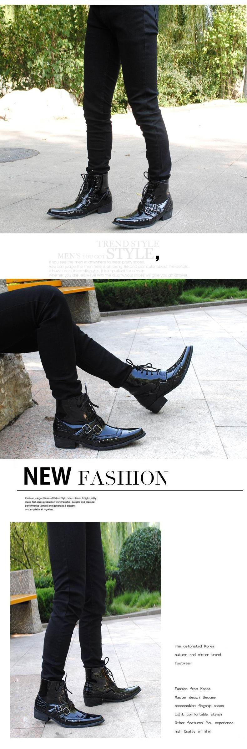 Compre Corea Diseñador Moda Hombres Botas Negro Punta Estrecha Hebilla Botín Para Hombres Bota De La Motocicleta Zapatos De Charol Espinas Remaches